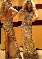 Wholesale 2015 Myriam Fares Dresses Party Evening Custom Made Plus Size Gold Backless Sweetheart Sexy Sequined Floor Length Long Prom Dresses AL060416