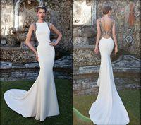 Cheap 2015 Distnctive Evening Dresses Tarik Ediz White Bateau Neck Backless Lace Beaded Embellished Mermaid Chapel Train Formal Gowns Prom Dresses