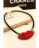 artificial lips - 2015 early autumn fashion women jewelry Nightclub red lips leather cord artificial gemstone nacklace