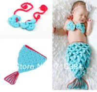 baby clothese - Blue Mermaid Hat Photo Prop Handmade Children Clothes Newborn Baby Clothing Yarn clothese clothes for dog lovers