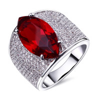 big ruby rings - Red big cz ring women White gold plate rings Womens unique jewelry white gold plated Accessories for woman Bands ring for woman