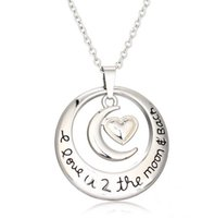 mens jewelry lot - Womens Mens I Love You to the Moon And Back engraved pendant necklace hollow love heart necklaces jewelry gift hot sale