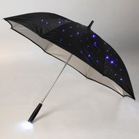 blue led flashlights - 132 Blue Light Long handled Flashlight Fully Automatic quot Rain Umbrella LED Umbrellas Mode Stars with LED Gift For Kids DHL L0413