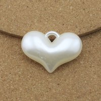 plastic charms - promotion mm mm Heart Plastic White Simulated Pearl Charms Necklace Pendants DIY Jewelry Findings F1594