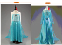 Wholesale kids frozen princess dress A line ball gown dress cosplay costume dress party gowns prom dress cape christmas snowflake dresses