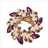 Wholesale 2014 New Multicolor Brooches Fashion Jewelry for Women Bauhinia Brooches Rhinestone Crystal Floral Brooches Women