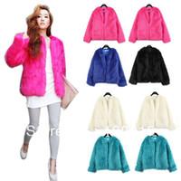 Wholesale Vintage Women Faux Fur Coat Winter Warm Outwear Long Hair Jackets Overcoat Tops