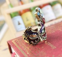 antique african mask - Punk gothic Vintage jewelry style Hollowed out mask Brass Antique Gold Ring for women and men