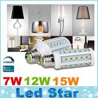 Dimmable 7W 12W 15W conduit ampoules E27 E26 E14 B22 SMD 5730 conduit des lumières de maïs 360 angle AC 110-240V + CE UL CSA