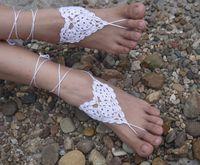 Wholesale Hot Sale Beach wedding Foot ornaments White Flower Handmade pure Cotton Flower Crochet Barefoot Sandals women foot Jewelry Ankle P1280414