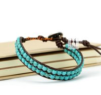 beaded layered bracelets - New Arrival Layered Turquoise Leather Wrap Bracelet Woven Friendship Bracelet Turquoise Bracelet