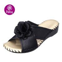 silk slippers women - Women Indoor Slippers Silk Material Soft Comfortable Elegant Wine Purple Black Flower Design High Quality Women Room Wear