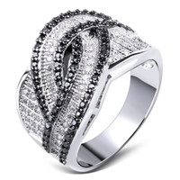 Wholesale Brand New White Back Woven Design Ladies Wedding Party Rings Top Quality Cubic Zirconia Hand Made Pave Setting Platinum Plated