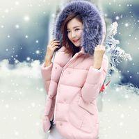 Wholesale Winter Jacket Women Long Fur Hooded Winter Coats Women Cotton Padded Jacket Parka Cloak Womens Winter Jackets And Coats