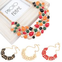 bib beads - Fashion X Colorful Beads Charm Jewelry Chain Pendant Crystal Choker Chunky Statement Bib Necklace Women Jewelry Free Ship
