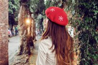 amazing artists - Hot Women Felt wool French Hat Snowflake Embroidery Beret Caps Felt Pillbox Hat Fashion Amazing Artist Cap