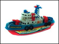 Wholesale 2015 kids Navigation Model Set can move with battery spraying water baby marine rescue boat model J071303 DHL