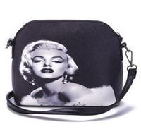 audrey hepburn bag - New arrival shell bag fashion print Audrey Hepburn Marilyn Monroe day clutches women messenger bags small black handbag