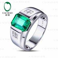emerald cut diamonds - CaiMao ct Natural Emerald KT White Gold ct Full Cut Diamond Engagement Ring Jewelry Gemstone colombian