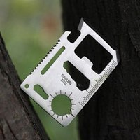 Cheap Multi Tools 11 in 1 Multifunction Outdoor Hunting survival tool card Camping Pocket Military credit card knife Silver Black