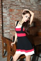 Cheap The New Autumn And Winter 2014 Korean Cute Women Clothes Three-color Mosaic Wild Sling Vest Dress Slim Sexy Fashion Dress 10032
