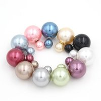 Wholesale 10COLORS MM MM Double Side Imitated Pearl Earrings Shining Bohemian Round silver plated Stud Wedding Jewelry for Women girls