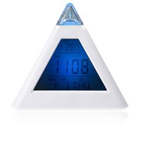 Wholesale New LED Change Colors Pyramid LCD Digital Snooze Alarm Clock Time Data Week Temperature Thermometer C f Hour Home