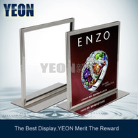 Wholesale YEON A4 size menu display stand rack stainless steel board stand for hotel supermarket MOQ pc bulk order available