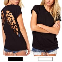 Wholesale new popular Casual Womens Punk Laser Backless Hollow Angel Wings Cut Out Tops T shirt
