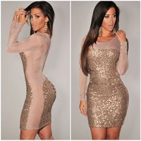 xxxl - 2014 New Plus Size XXXL Gold Black Red Purple All Over Sequined Sheer Long Sleeves Hollw Out Mesh Insert Bodycon Club Dress