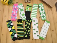 argyle sock - Free Fedex Ship Promotion Baby ST Patricks Day Leg Warmers Argyle Clover Leg Warmer Green White Striped leg warmers Lucky clover socks