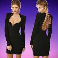 Wholesale 2015 New Fashion Women Midi Bandage Dress Back Ribbon Lace Up Long Sleeve Low Cut Bodycon Dress Sexy Business Suits or Clubwear