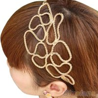 Wholesale Lovely New Metallic Gold Braid Braided Hollow Elastic Stretch Hair Band Headband OU