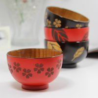 Wholesale Spondias wooden bowl japanese style tableware Cherry blossoms wood rice bowl J108