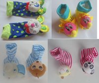 bb finder - Original BB socks baby foot finders overall green polka dots cartoon striped home socks with bell rustle mix design