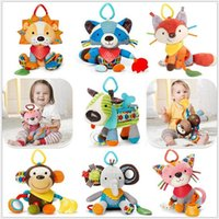 baby bedding dogs - 3m Baby Toy Crib Bed Hanging Toy Soft Plush Cute Cartoon Animal Rattle Teether Multifunction Dog Puppy Fox Cat Raccoon Doll