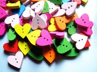 Wholesale Wood buttons clip love mixing two holes x18mm