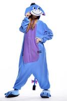 adult donkey costume - Funny Donkey Kigurumi Pajamas Animal Suits Cosplay Outfit Halloween Costume Adult Garment Cartoon Jumpsuits Unisex Cheap Animal Sleepwear