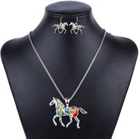 aqua necklaces - MS1504258 Fashion Jewelry Sets High Quality Gold Plated Multicolor Horse Design Woman s Necklace Set Wedding Jewelry Party Gifts