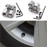 Wholesale Lockable Black VW Anti Theft Dust Cap Tire valve caps With Car Logo Badges Emblems Black VW With Retail Box