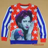 Women american apparel pictures - Raisevern produced American flag printed sweatshirt sexy pinup girl picture hoodies apparel college women men casual pullovers