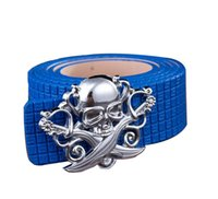 Wholesale Fashion trends unisex Belts New design skull alloy buckle women Plaid belt Brand PU belts for men color
