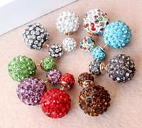 shamballa earrings - High Quality Gold Plated double cz disco balls shamballa earrings mm mm crystal bead earrings