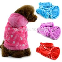 Wholesale Dog Soft Warm Sweater Pet Love Heart Puppy Hoody Jacket Puppy Clothe Freeshipping