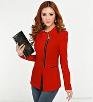Wholesale 4092Spring autumn women Korean casual fashion irregular collar POLO zipper slim small suit Blazer coats woman jackets ladies dress suits top