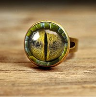 Band Rings american lizard - RC138 Vivid lifelike Dragon Cat Eye lizard Reptiles Charms Art Picture Handmade jewelry photo Glass Cabochon