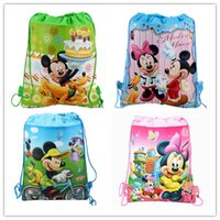 cute drawstring bag - Styles Mickey and Minnie Double shoulder Baby Children Boy Girl Cute Cartoon School Bag Kids Drawstring Backpack