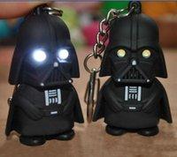 Wholesale LED Star Wars Darth Vader Keychains with Sound Light Lamp Flashlight Keychain YODA Black Star wars luminous Dark Warrior Free DHL