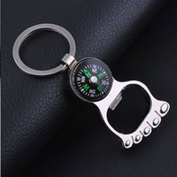 Wholesale 2016 Multi function Figure Keychains Compass Bottle Opener Key Ring Creative Car Phone Keyfob Pendant Sweet valentines day Christmas Gifts