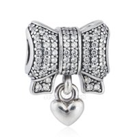 Wholesale 925 Sterling Silver Heart Bow Beads with Clear Cubic Zirconia Charms for DIY Pandora Style Bracelets Jewelry